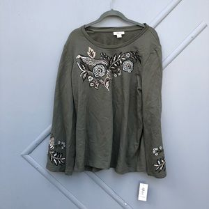NWT Style & Co olive green embroidered sweater L